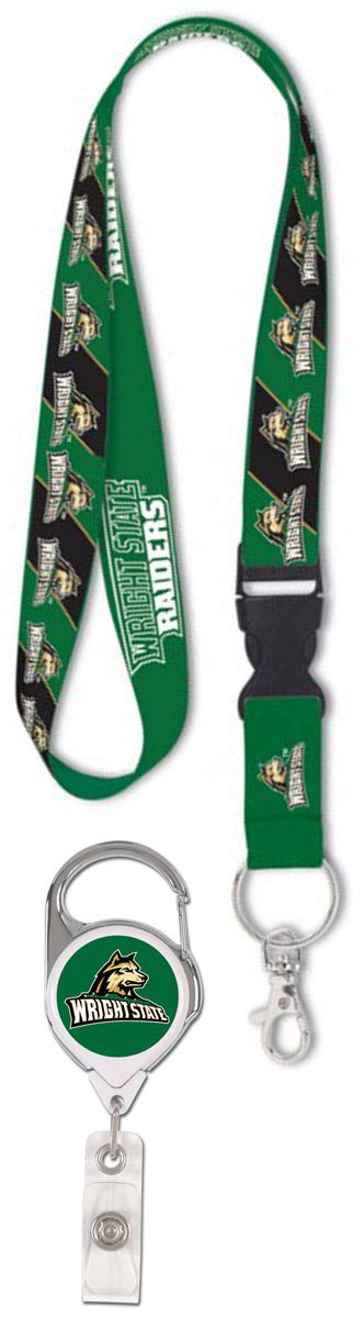 WinCraft Bundle 2 Items: Wright State University 1 Lanyard and 1 Premium Badge Reel Id Holder