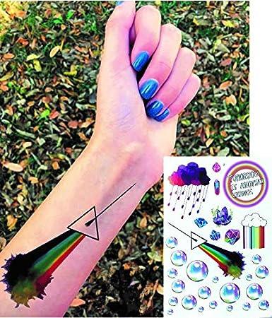 4 hojas Modelos Fiesta Tatuajes Cactus Alien arco iris Flores ...