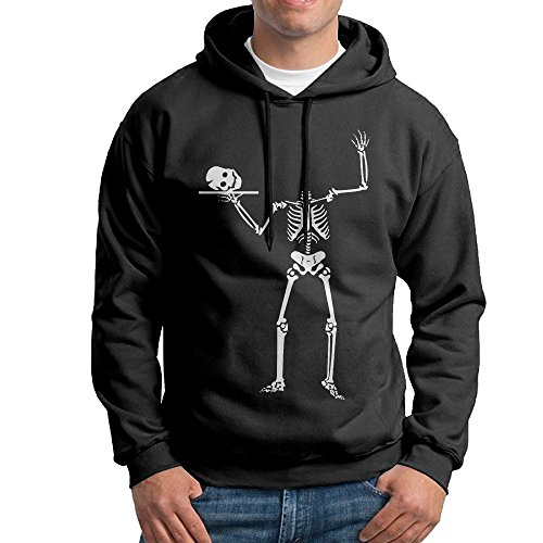 AcFun Men's Halloween Skeleton Hooded Sweatshirt Black Size -