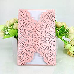 WOMHOPE® 50 Pcs - Large Rose Hollow Laser Cut Wedding Invitation Lace Shimmer Party Invitations Cards Birthday Invitations Cards Wedding Favors (Pink (White inner sheet))