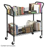 Black Safco Wire Book Cart, Steel, 4 Shelves, 44w x 18-3/4d x 40-1/4h - BMC-SFC 5333BL