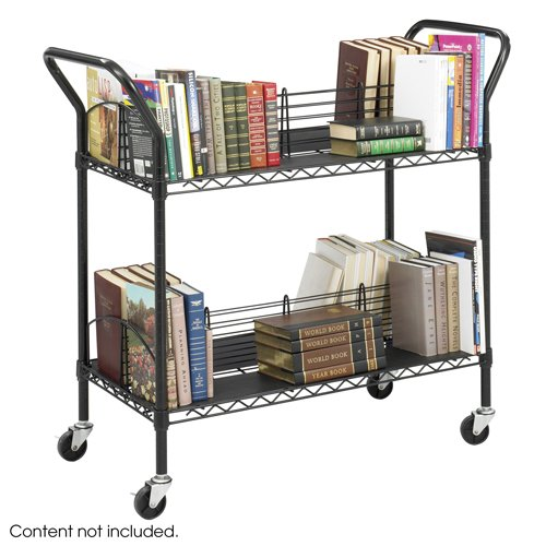 Black Safco Wire Book Cart, Steel, 4 Shelves, 44w x 18-3/4d x 40-1/4h - BMC-SFC 5333BL by Miller Supply Inc