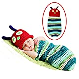Decut Set Of 2 Baby Blue Green Caterpillar Wrap/Sleeping Bag With Cap Crochet Clothing