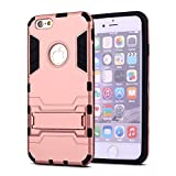 iPhone 6 Plus Case,iPhone 6s Plus case,Ebakx [Ironman Kickstand] Heavy Duty Hybrid Dual Layer Armor Defender Full Body Protective Case Cover for Apple iPhone 6s/iPhone 6 Plus case,(Rose gold)