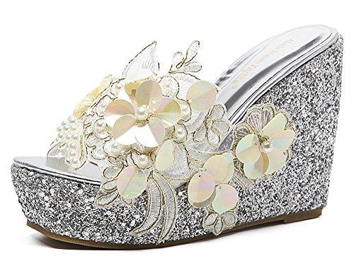 Women High Heels Fashion Breathable Sandals (Silver) - 2