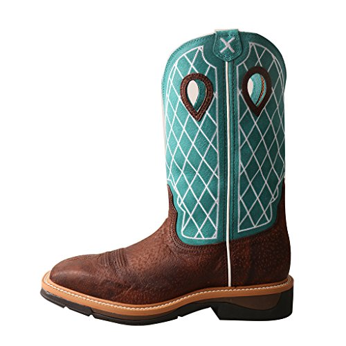 Twisted X Men'S Lite Cowboy Workboot, Color: Brown Distressed/Turquoise, Size: 1 by Twisted X (Image #1)