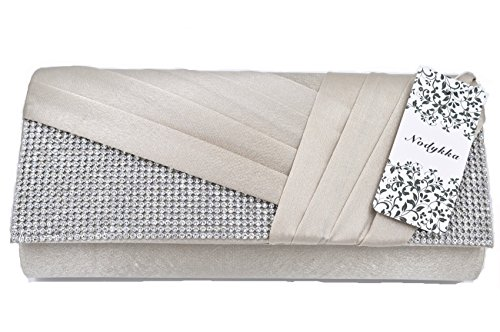 Wedding Rhinestone Champagne Nodykka Clutches Purse Satin Bag Evening Handbags Party Pleated rUqwYrvE