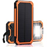 Solar Charger, Zonhood 15000mAh Portable Solar Power Bank Dual USB Backup Battery Pack Charger, Solar Phone External Battery Charger with 6 LED Flashlight for Smartphones Tablet Camera and More