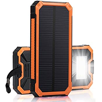 Solar Charger, Zonhood 15000mAh Portable Solar Power Bank Dual USB Backup Battery Pack Charger, Solar Phone External Battery Charger with 6 LED Flashlight for iPhone, Android, Tablet Camera and More