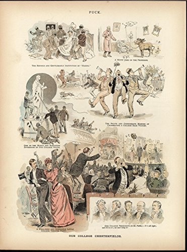 College Attitude Boorish Behavior Uncouth 1891 antique color lithograph print