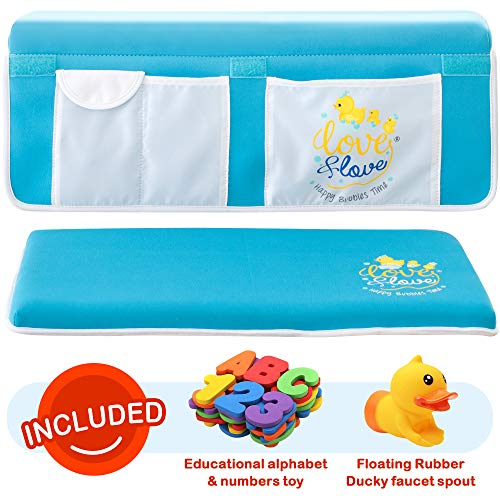 Bath Kneeler By [ Love & Love ] Elbow rest Pad and Blue Non Slip Bath Mat Bathtub kneeling Pad XL 2 Inch Thick Wide Bath Mat Knee Set | Double Stitched Mesh Netting Pockets Toy Organizer | Shower Gift