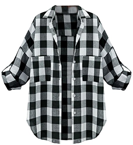 [Fordbox Latest Women's Punk Plus Size Loose Plaid Long Sleeve Blouse Black M] (Spanish Themed Dress Up Ideas)