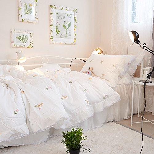 ホワイト 韓式姫系 布団カバーセット 花柄刺繍模様 荷葉形 レースフリル 掛け布団カバー ベッドスカート 枕カバー 小柄 すごく可愛い B07R6HDYVM ホワイト
