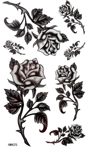 King Horse Black roses barbed wire tattoo female waterproof stickers (Best Barbed Wire Tattoo)