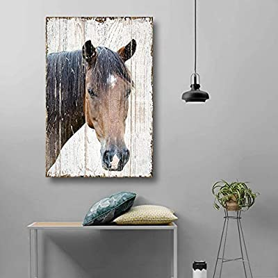 Delightful Portrait, That's 100% USA Made, Print Head of a Horse on Rustic Style Wood Background