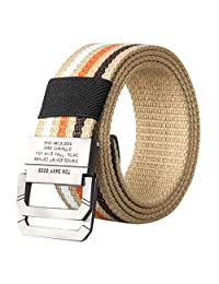 Fxbar D-ring Metal Buckle Belt Double Ring Belt Non-Porous Adjustable Canvas Belt