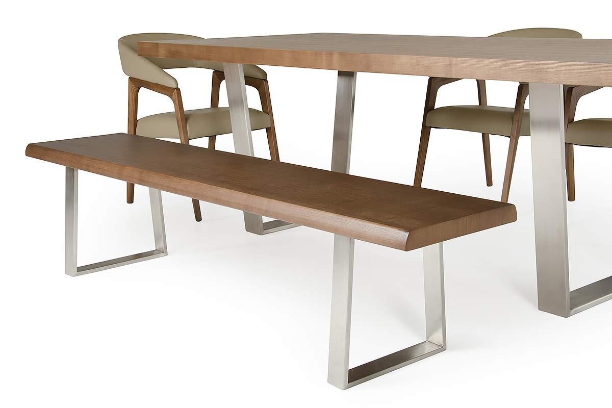 Amazon.com - HomeRoots Veneer, Wood, Steel Modern Walnut Dining Bench -  Tables