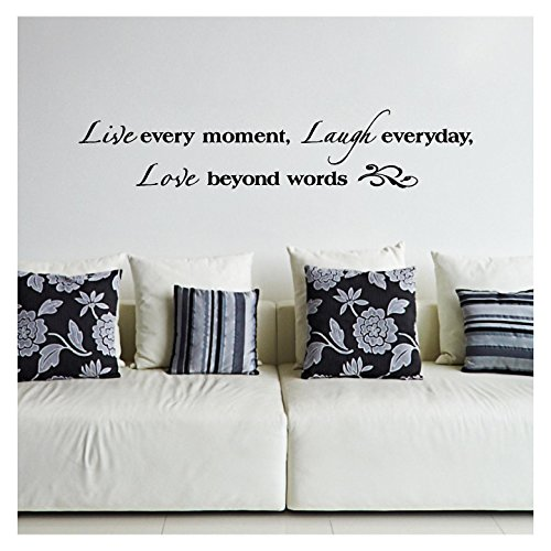 Wall Decal Sticker Lettering (Live Every Moment, Laugh Everyday, Love Beyond Words Vinyl Lettering Wall Decal Sticker (8