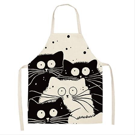 TVKL Delantal de Cocina con diseño de Gato de Dibujos Animados ...