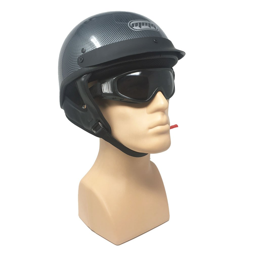 Motorcycle Half Helmet Cruiser DOT Street Legal - Carbon Fiber (Large)