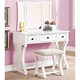 1PerfectChoice Tri Folding Mirror Curved Lines Vanity Makeup Table Bench Set 3 Drawers in White