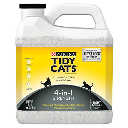 Purina Tidy Cats 4-in-1 Strength Clumping Cat Litter,14-Pound Jug, Pack of 3