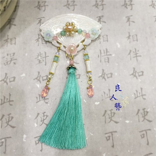 Custom handmade classical antiquity antique Chinese cheongsam dress accessories ice silk tassel brooch pin buckle ban child Bei step shake hairpin hairpin from MESORO brooch