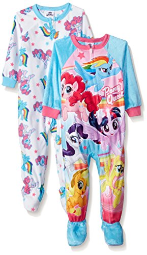 My Little Pony Toddler Girls' 2-Pack Footed Blanket Sleeper, Light Blue, 3T (Blanket Light Blue Sleeper)