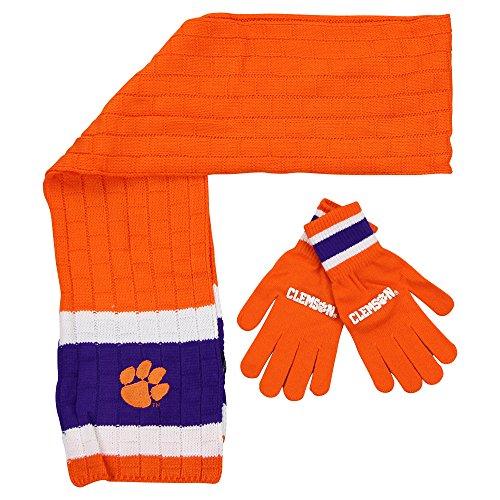 Littlearth NCAA Clemson Tigers Scarf & Gloves Gift Set (Football Team Scarf)