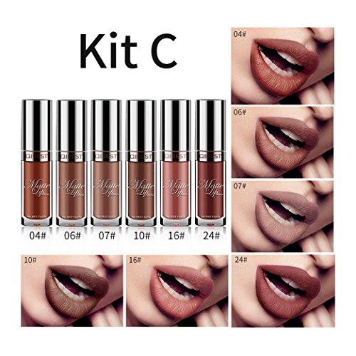 Jujunx 6Pcs/Set Sexy Long Lasting Waterproof Ultra Matte Liquid Lip Gloss Cosmetic Beauty Makeup (C) -