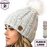 Braxton Knit Hat for Women - Pom Cable Winter Warm Fleece Beanie - Wool Snow Cuff Outdoor Ski Cap