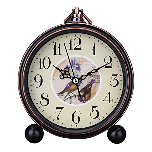 Vintage Silent Desk Alarm Clock Non Ticking Quartz Movement Battery Operated , HD Glass Lens, Easy to Read (3)
