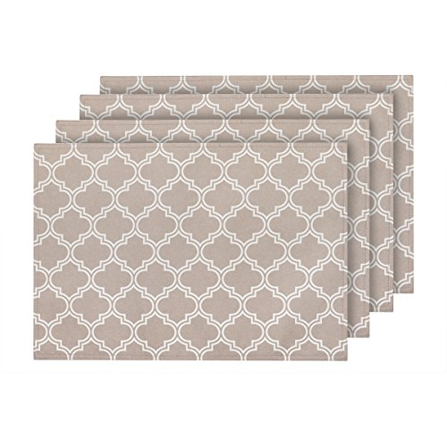 ColorBird Elegant Moroccan Doily Place Mat Water Resistant Spillproof Microfiber Fabric Table Placemats, 13 x 19 Inch, Set of 4, Khaki