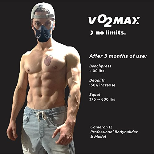 VO2MAX Workout Training Mask | Oxygen Restricting High Elevation 16-Level Adjustable Altitude Resistance | Cardio Fitness Crossfit Cycling Running Triathlon Lifting Endurance Sports Exercise