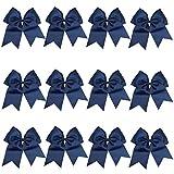 "ICObuty 12 Pcs 8"" Jumbo Cheer Bows Ponytail Holder Cheerleading Bows Hair Tie for Teens Girl (Navy blue)"
