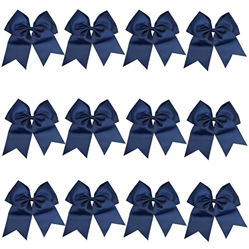 "ICObuty 12 Pcs 8"" Jumbo Cheer Bows Ponytail Holder Cheerleading Bows Hair Tie for Teens Girl (Navy blue)"