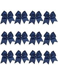 "6-12 Pcs 8"" Jumbo Cheer Bows Ponytail Holder Cheerleading..."
