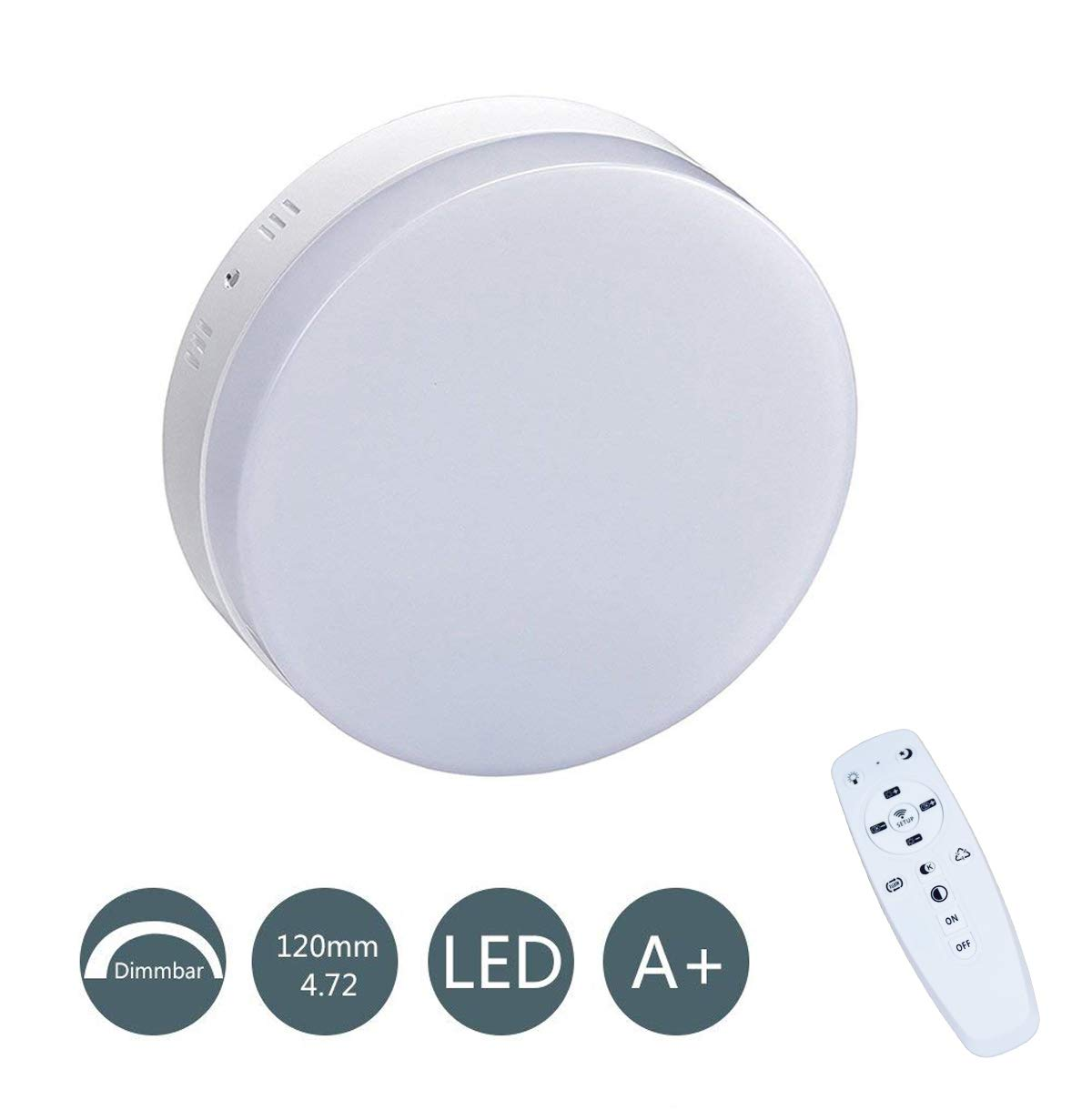 24W Dimmable Ceiling Light with Remote Control,Flush Mount Lighting,Adjustable Ceiling Lamp,Modern Lighting for Kitchen,Hallway,Bathroom,Living Room,2040LM,85-265V W-LITE