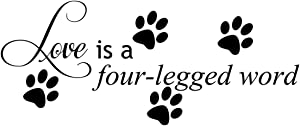 Empresal Love is A Four Legged Word Decal Wall Vinyl Decor Sticker Home Cat Dog Animal