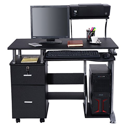 Apontus Black Computer Desk with Printer Shelf by Apontus