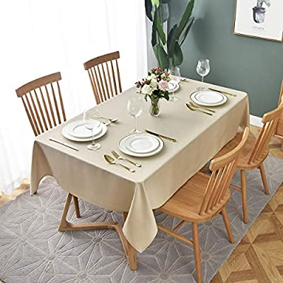 """maxmill Jacquard Table Cloth Geometric Pattern Spillproof Wrinkle Resistant Oil Proof Heavy Weight Soft Tablecloth for Kitchen Dinning Tabletop Decoration Outdoor Picnic Rectangle 52 x 70 Inch Beige - Our GEO tablecloths are available in 5 vibrant colors and 6 sizes. Color options are: Beige, Chocolate, Dark Teal, Navy and Silver Grey. Size options are Rectangular: 52''x70'', 60""""x84"""", 60""""x104"""", 60""""x120"""", 60""""x140"""" and Round 70"""". This durable tablecloth is made of premium and heavy weight polyester jacquard fabric to ensure the substantial protection of your table and furniture. Made of well treated fabric, this table cloth is smooth and pleasingly soft to the touch. Our delicate tablecloth is designed for a variety of happy occasions - suitable for your dining-room table, kitchen table, Cafes, diners, catering, weddings, brunches, buffets, parties, outdoor patio table and more. - tablecloths, kitchen-dining-room-table-linens, kitchen-dining-room - 51E7kl1OkgL. SS400  -"""