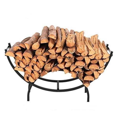 PHI VILLA 40 Inch Heavy Duty Large Curved Indoor/Outdoor Firewood Racks, Oval Base for Kindling Wood Storage, Black