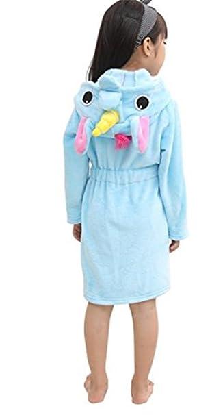 YOGLY Niños Unicornio Bata de Baño Franela Encapuchado Pijama Unicornio Disfraces Animales Camisón Albornoz