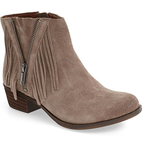 Boho-Chic Vacation & Fall Looks - Standard & Plus Size Styless - Lucky Brand Women's BEELINER Fringe Booties BRINDLE SUEDE,5.5