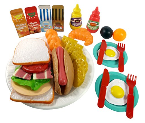 Sandwich Fast Food Cooking Play Set for Kids - 33 pieces (Sandwich, Hotdog, Crackers, & more) Dog Ice Cream Sandwiches