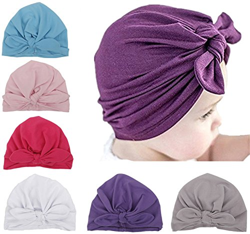 - Qandsweet 6 Pack Baby Girl Hats Knotted Rabbit Ear Style Turban Headband 1-5T