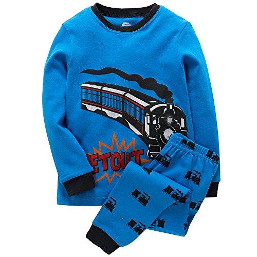 MAMABIBI Boys Pajamas Running Train Kids Long Sleeve Toddler Pjs Set -