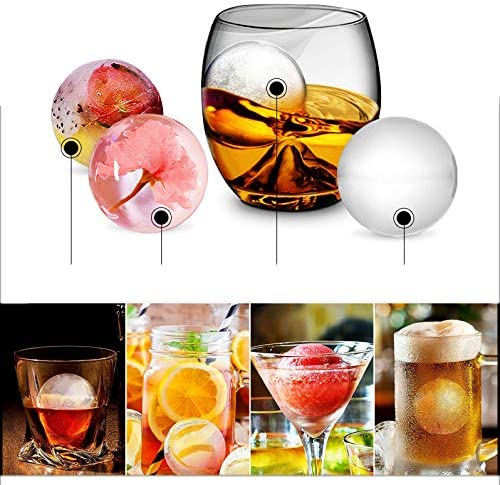 Round Spheres Reusable /& BPA Free,Silicone Ice Ball Maker With Lid For Infused Ice Or Whiskey Glasses Ice Cube Molds for Whiskey Black 2 Pack 4.5 X 4.5cm Meiyouju Sphere Ice Mold