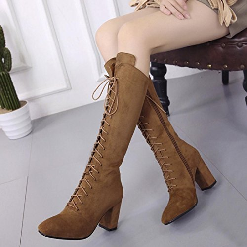MML Women Winter Over The Knee High Boot, Plush Flock Lace-up High Heel Combat Boots UK 4.5-6.5 Khaki