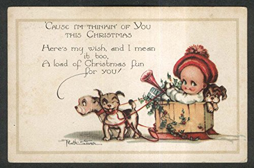 Drawn Sled - Baby in puppy-drawn sled Christmas postcard 1925